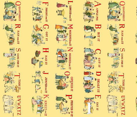 "Kate Greenaway's ""A Is For Apple"" Border Print fabric by peacoquettedesigns on Spoonflower - custom fabric"