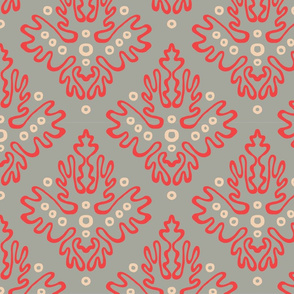 Antler Damask in Lipstick Concrete