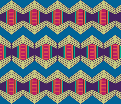 African Weave Hexagon Variation with Chevrons fabric by bloomingwyldeiris on Spoonflower - custom fabric