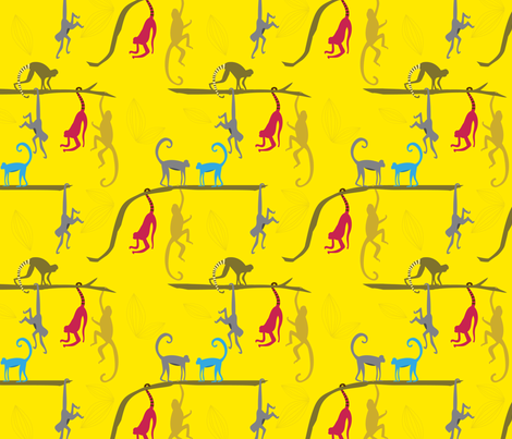 Jungle Monkeys in primary nursery colors fabric by emily_caraballo on Spoonflower - custom fabric