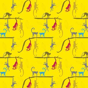 Jungle Monkeys in primary nursery colors