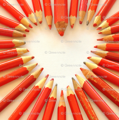 Ditsy red pencil hearts