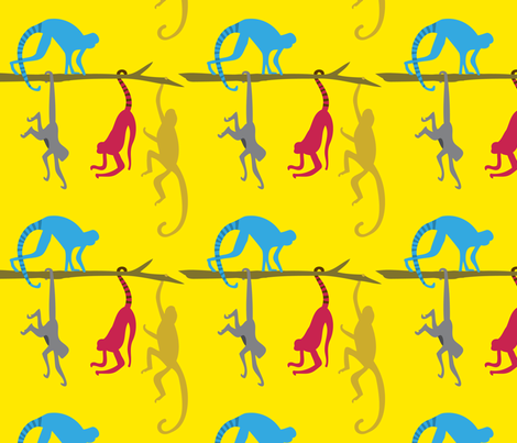 Jungle Monkeys Climbing across Tree branches fabric by emily_caraballo on Spoonflower - custom fabric