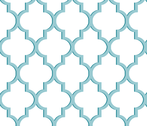 Dimensional Quatrefoil in Tiffany Blue fabric by willowlanetextiles on Spoonflower - custom fabric