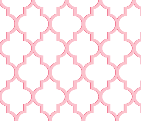 Dimensional Quatrefoil in Pink fabric by willowlanetextiles on Spoonflower - custom fabric