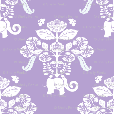 Elephants in my Garden Damask in Lavender and White