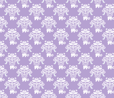 Elephants in my Garden Damask in Lavender and White fabric by shellypenko on Spoonflower - custom fabric