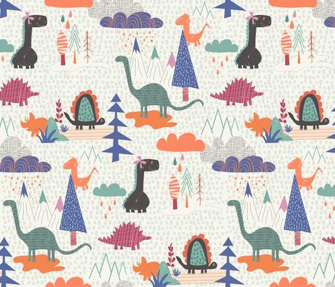 Dino family wallpaper demigoutte spoonflower for Kids dinosaur fabric