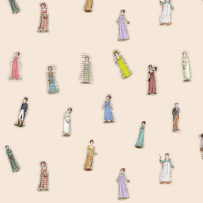Austen Characters on Beige/Cream