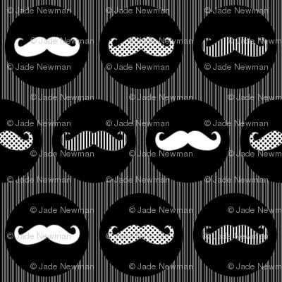 Nice Tache Moustache Mustache Black and Grey Print