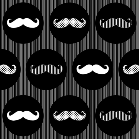 Nice Tache Moustache Mustache Black and Grey Print fabric by lovelyjubbly on Spoonflower - custom fabric
