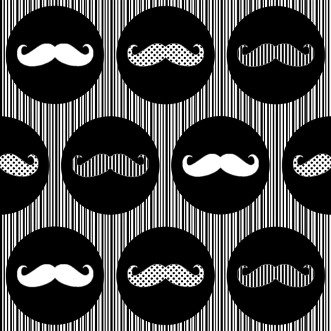 MoustachePrintWhiteBlack fabric by lovelyjubbly on Spoonflower - custom fabric