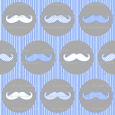 Nice Tache Moustache Mustache Grey and Blue