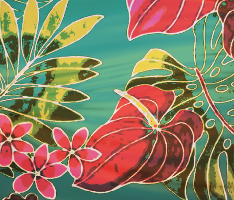 vintage tropical flowers fabric by ann-dee on Spoonflower - custom fabric