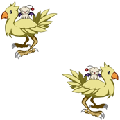 Moogle riding a Chocobo!