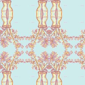 Pink Flowers, Blue Room