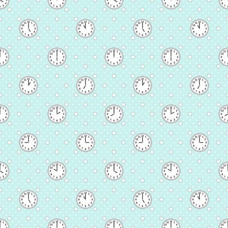 polka o'clock : cyan turquoise blue fabric by sef on Spoonflower - custom fabric