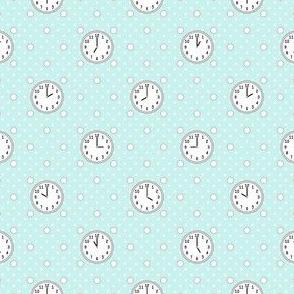 polka o'clock : cyan turquoise blue