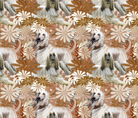 afghan hound  floral fantasy fabric by dogdaze_ on Spoonflower - custom fabric