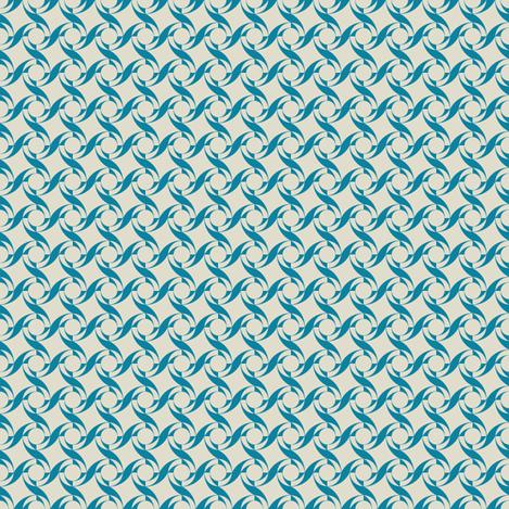 Geo Swirl in Teal and Sand fabric by carolina_medberg on Spoonflower - custom fabric