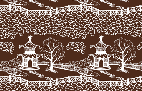 pagoda_cloud_fretwork white on brown fabric by danikaherrick on Spoonflower - custom fabric