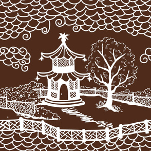 pagoda_cloud_fretwork white on brown