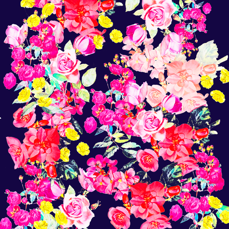 Vintage Inspired Floral in Summer Bright fabric ...