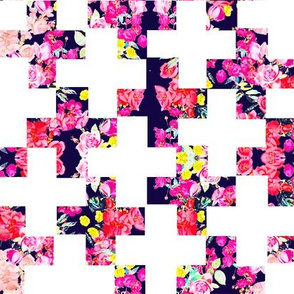Floral Plus Pattern Cheater Quilt Wholecloth
