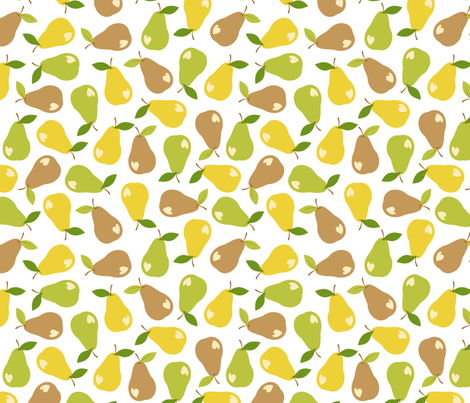 Ditsy bitten pears fabric by petitspixels on Spoonflower - custom fabric