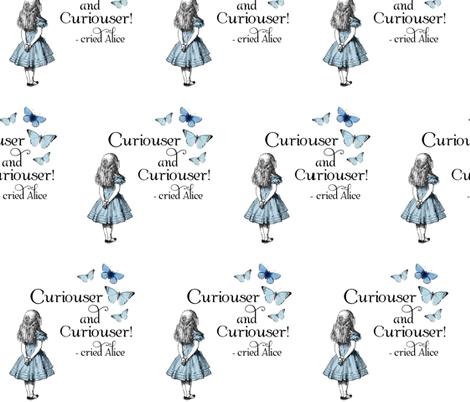 Alice in Wonderland Curiouser Blue fabric by 13moons_design on Spoonflower - custom fabric