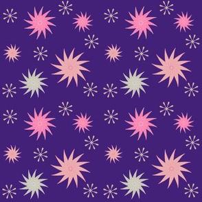 Pink bursts on violet