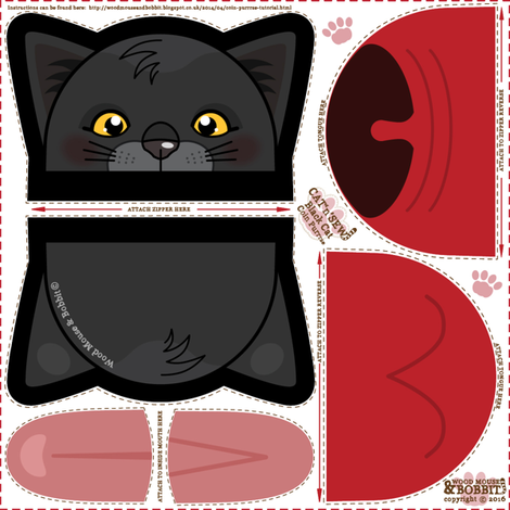 Black_Cat_Coin_Purrse fabric by woodmouse&bobbit on Spoonflower - custom fabric