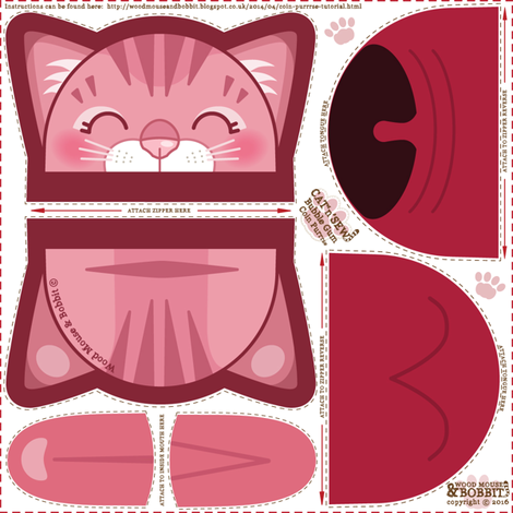 Bubble_Gum_Tabby_Coin_Purrse fabric by woodmouse&bobbit on Spoonflower - custom fabric