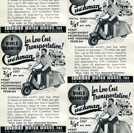 1952 Cushman Scooter Advertisement fabric by edsel2084 on Spoonflower - custom fabric