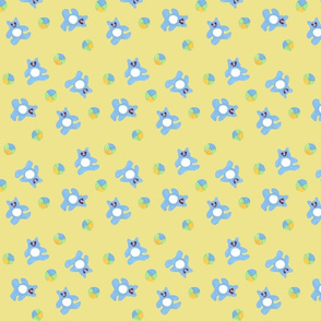 Teddy Bears and Balls on Yellow Background
