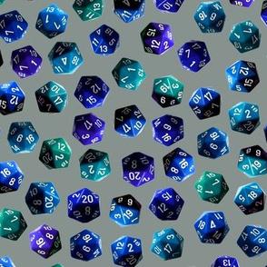 d20 gamer dice blue