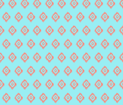 Ikat in Mint and Coral fabric by theartwerks on Spoonflower - custom fabric
