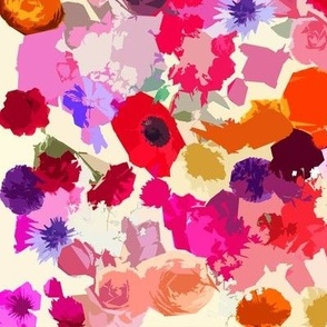 Colorful Abstracted Autumn Floral Print