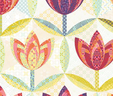 hexagon block tulip cheater quilt - (large) yardage fabric by coggon_(roz_robinson) on Spoonflower - custom fabric