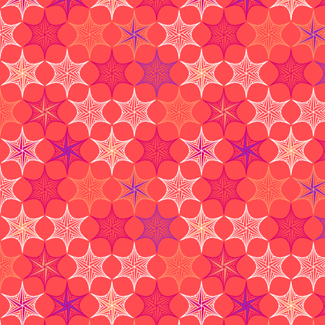 star parabola - coral fabric by coggon_(roz_robinson) on Spoonflower - custom fabric