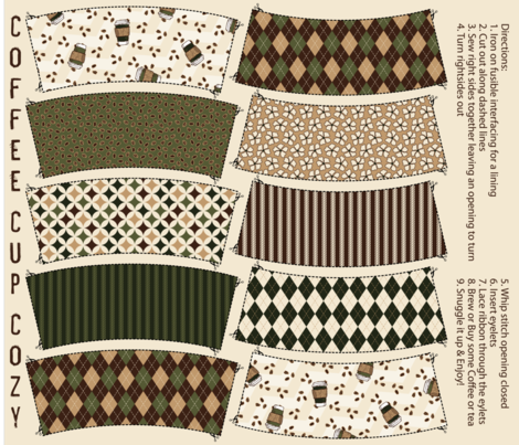 Coffee Cup Cozy fabric by jolenebalyeatdesigns on Spoonflower - custom fabric