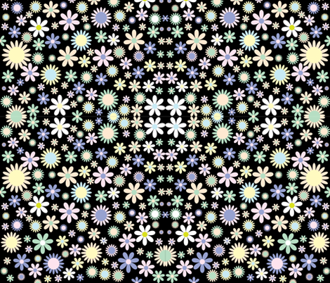 Black Retro Flowers fabric by puggy_bubbles on Spoonflower - custom fabric