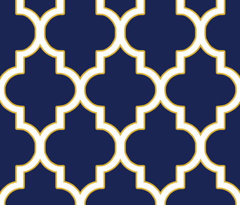 Quatrefoil in Navy and Gold fabric by willowlanetextiles on Spoonflower - custom fabric
