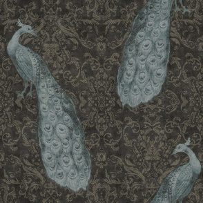 Plumes and Damask in Graphite and Teal Blue