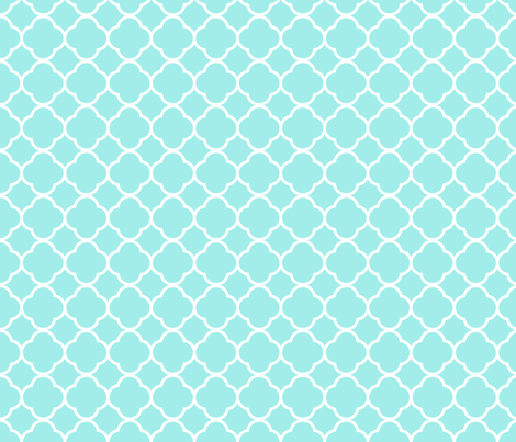 Aqua Quatrefoil Wallpaper Puggy Bubbles Spoonflower