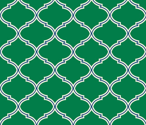 Lily Trellis in Preppy Green and Navy fabric by willowlanetextiles on Spoonflower - custom fabric