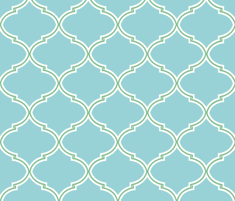 Lily Trellis in Turquoise and Apple Green fabric by willowlanetextiles on Spoonflower - custom fabric