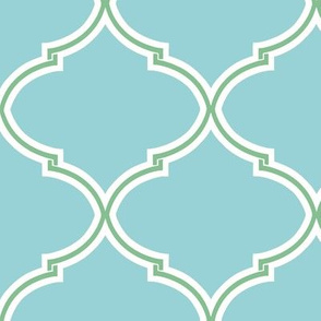 Lily Trellis in Turquoise and Apple Green