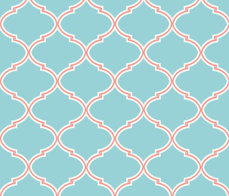 Lily Trellis In Turquoise And Coral Wallpaper