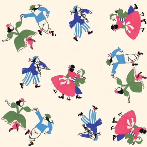 Square Dancers and The Fiddler  fabric by htsvik on Spoonflower - custom fabric